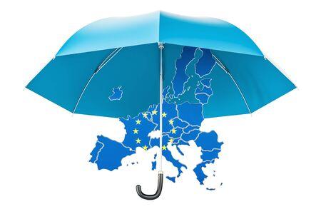 傘の下で EU の地図。セキュリティと保護や保険の概念、3 D の分離の白い背景を描画