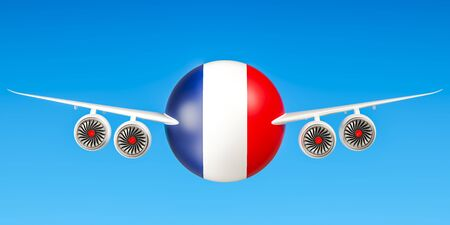 French airlines and flyings, flights to France concept. 3D rendering