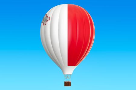 malta: Hot air balloon with Malta flag, 3D rendering