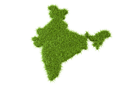 reusing: Indian map from green grass, 3D rendering isolated on white background