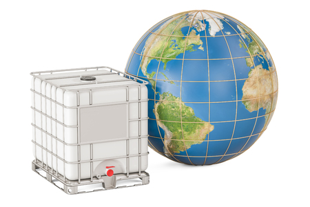 Intermediate bulk container with Earth globe. Transport of liquids around the world, 3D rendering isolated on white background