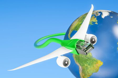 wifi access: Lan cable with airplane wings, fast internet connection concept. 3D rendering Stock Photo