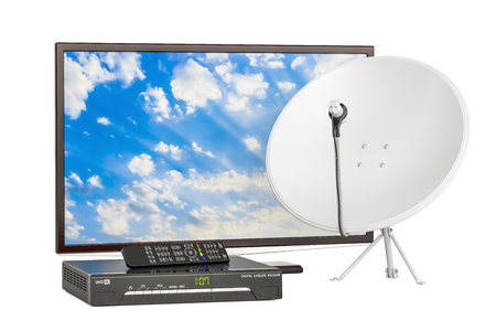 wireless connection: TV set with digital satellite receiver and satellite dish, telecommunications concept. 3D rendering