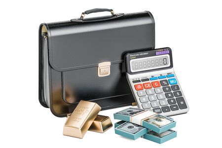 savings account: Business, financial and banking concept, briefcase with golden bars and calculator. 3D rendering Stock Photo