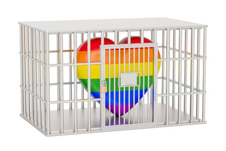 cage, prison cell with gay heart rainbow, 3D rendering isolated on white background Stock fotó