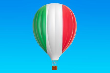 Hot air balloon with Italian flag, 3D rendering