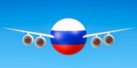 Russian airlines and flyings, flights to Russia concept. 3D rendering Stock Photo