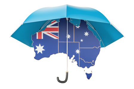 flag: Australian map under umbrella. Security and protect or insurance concept, 3D rendering