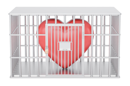 jail: cage, prison cell with red heart, 3D rendering