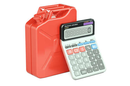 savings account: Calculation of cost fuel concept. Jerrycan with calculator, 3D rendering isolated on white background