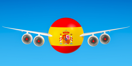Spanish airlines and flyings, flights to Spain concept. 3D rendering