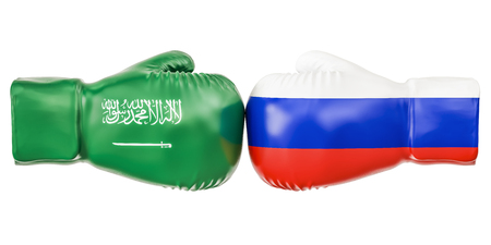 Boxing gloves with Russia and Saudi Arabia flags. Governments conflict concept, 3D rendering Stock Photo