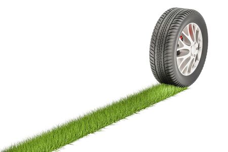 Car tire with grass print, eco concept. 3D rendering isolated on white background Stock Photo