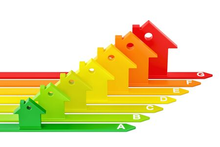 Energy efficiency chart from houses, 3D rendering isolated on white background