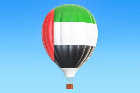 Hot air balloon with United Arab Emirates flag, 3D rendering
