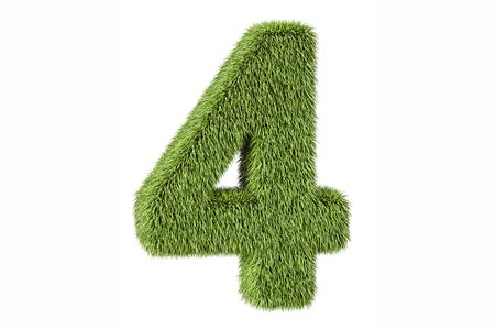 four objects: number 4 from grass, 3D rendering isolated on white background Stock Photo