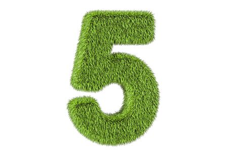 number 5 from grass, 3D rendering isolated on white background
