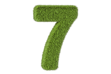 number 7 from grass, 3D rendering isolated on white background