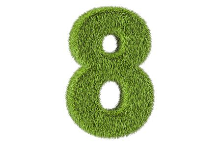 number 8 from grass, 3D rendering isolated on white background