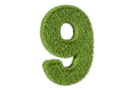 number 9 from grass, 3D rendering isolated on white background