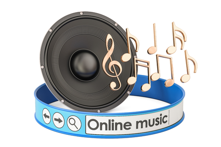 Online Music concept with loudspeaker and notes, 3D rendering Stock Photo
