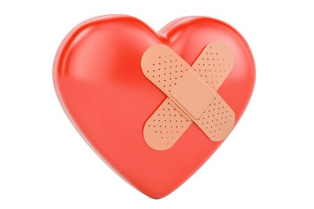 Broken heart with adhesive plaster, 3D rendering isolated on white background Stock Photo