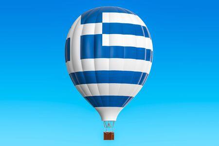 airship: Hot air balloon with Greek flag, 3D rendering