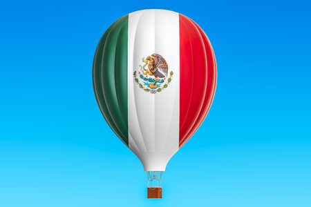 aeronautics: Hot air balloon with Mexican flag, 3D rendering Stock Photo