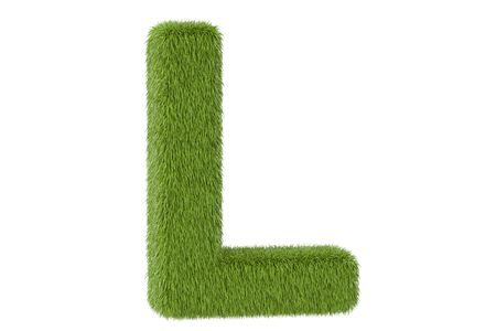 Green grassy letter L, 3D rendering isolated on white background
