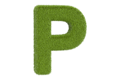 Green grassy letter P, 3D rendering isolated on white background
