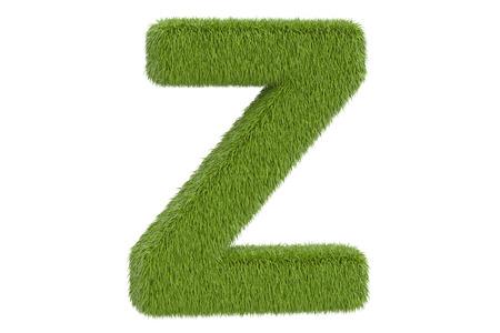 Green grassy letter Z, 3D rendering isolated on white background