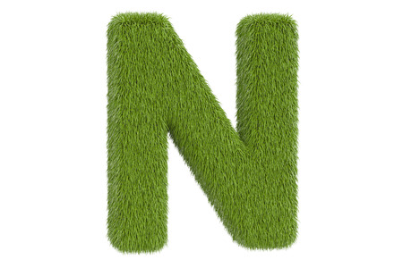 Letter N from green grass, 3D rendering isolated on white background
