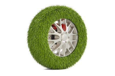 Car tire from grass, 3D rendering isolated on white background Stock Photo