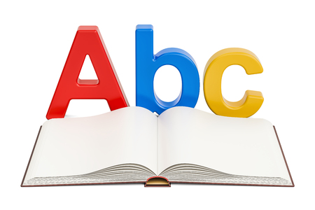 Education concept. Opened blank book with ABC letter, 3D rendering