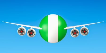 country nigeria: Nigeria airlines and flyings concept. 3D rendering