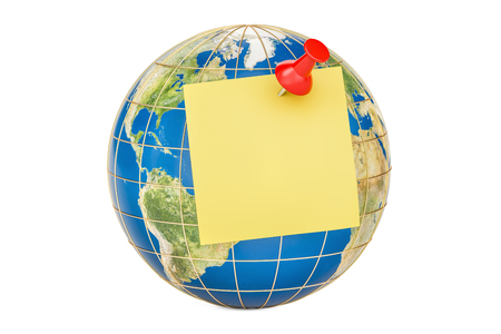 Push pin with blank yellow sticky note on globe, 3D rendering Stock Photo