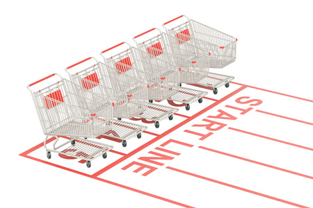 Start sale and discount concept. Shopping carts on the start line, 3D rendering