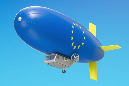 Airship or dirigible balloon with EU flag, 3D rendering isolated on white background