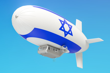 Airship or dirigible balloon with Israeli flag, 3D rendering isolated on white background Stock Photo