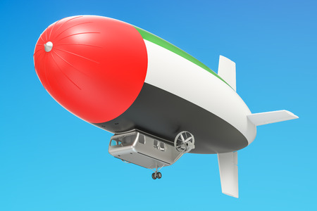 Airship or dirigible balloon with UAE flag, 3D rendering isolated on white background Stock Photo
