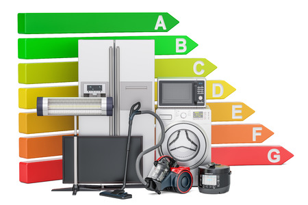 Energy efficiency chart with household appliances. Saving energy consumption concept, 3D rendering isolated on white background