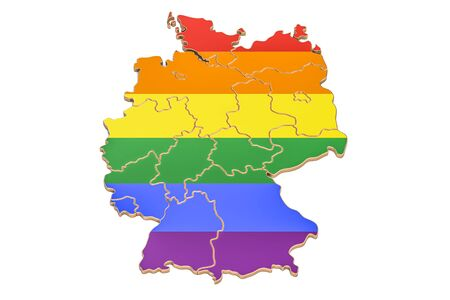 German map with LGBT flag, 3D rendering