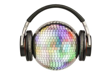 Hoofdtelefoons met spiegel disco bal, 3D-weergave geïsoleerd op een witte achtergrond Stockfoto