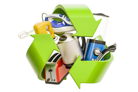 Household appliances with green symbol recycle, 3D rendering 스톡 콘텐츠