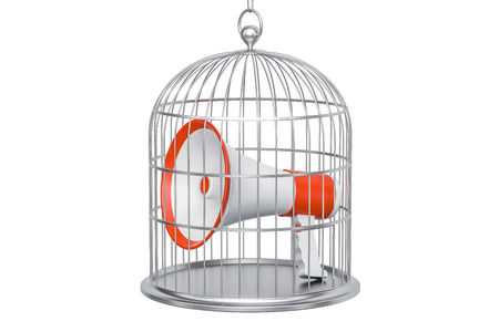 Megaphone inside cage, 3D rendering isolated on white background