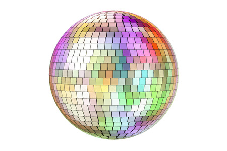 Mirror disco ball, 3D rendering isolated on white background Stock Photo