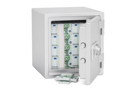 money packs: Safe Box With Euro Packs, 3D rendering