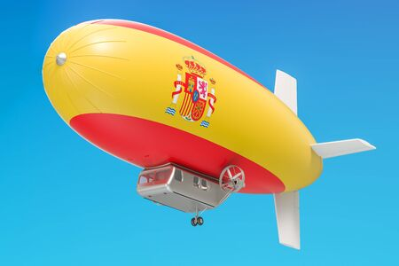 Airship or dirigible balloon with Spanish flag, 3D rendering isolated on white background Stock Photo