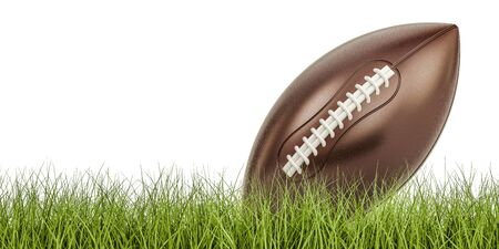 American football ball concept on the grass, 3D rendering isolated on white background Stock Photo