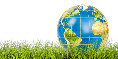 Ecology world concept, Earth globe on the green grass. 3D rendering isolated on white background